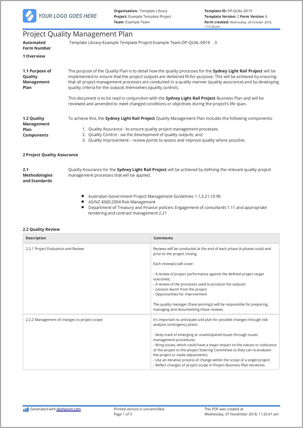 Quality Control Plan Template Free
