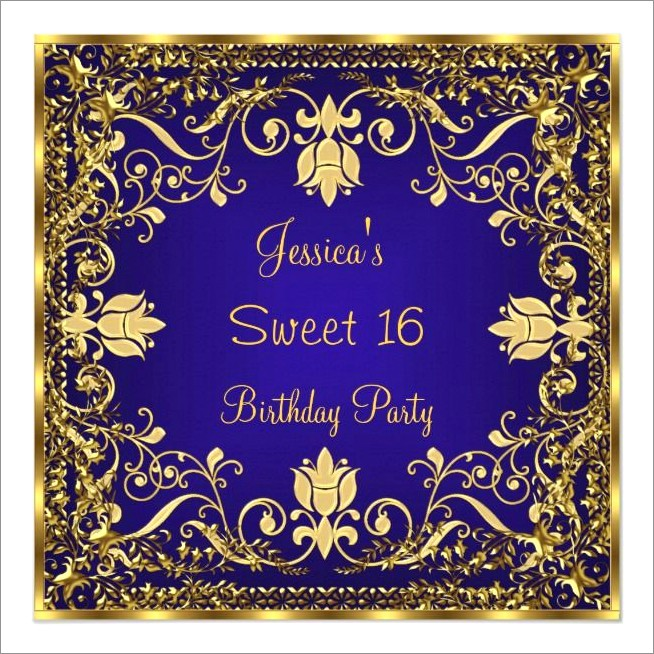 Quinceanera Invitations Royal Blue And Gold