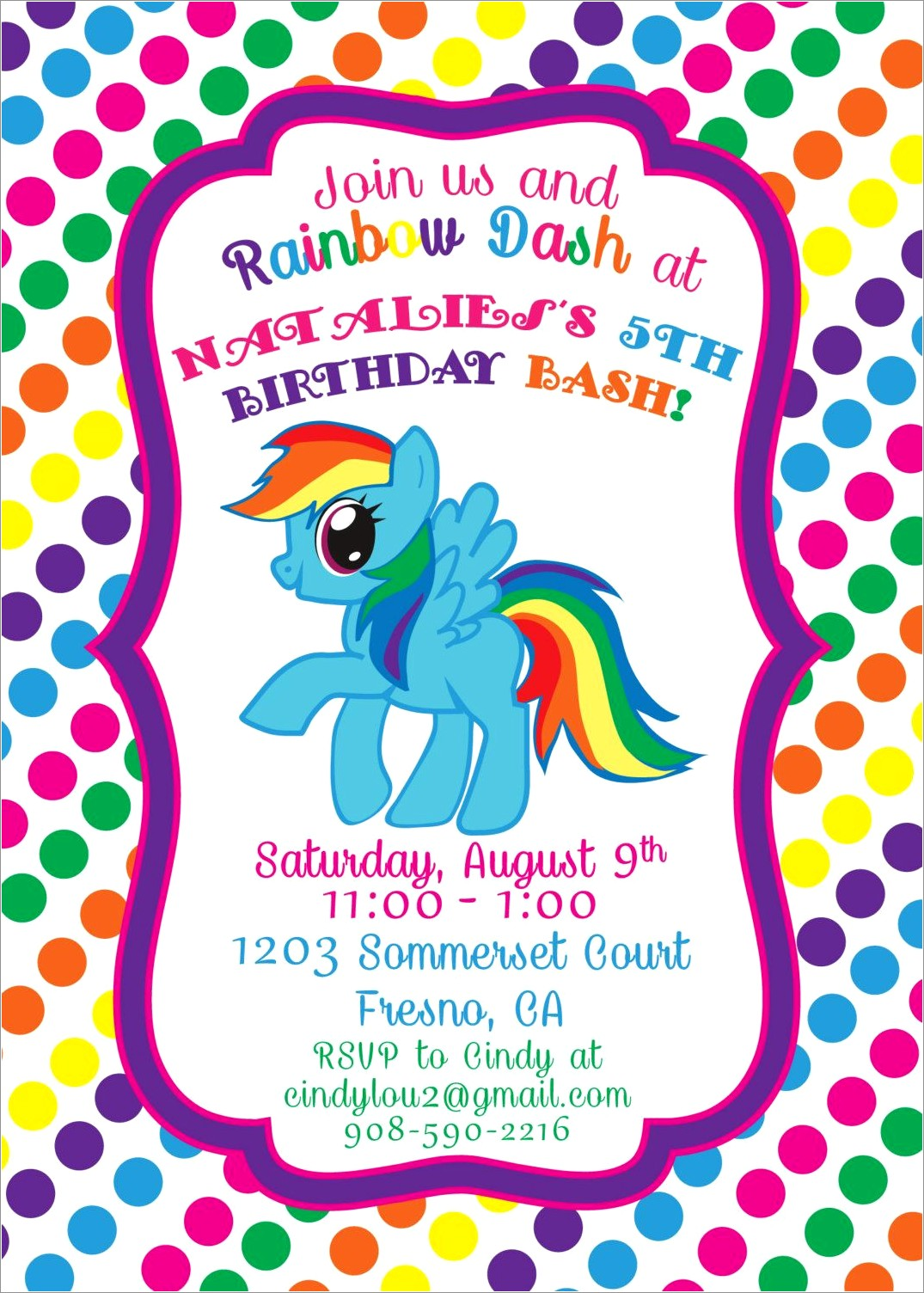 Rainbow Dash Birthday Invitations