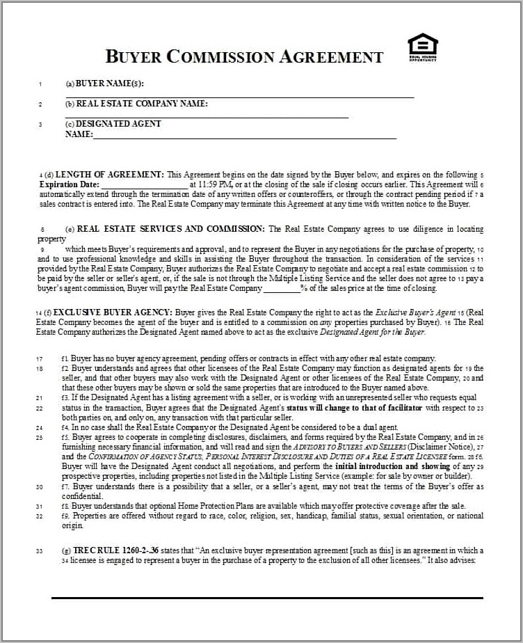 Real Estate Broker Commission Agreement Form India