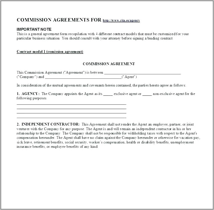 Real Estate Broker Commission Agreement Template