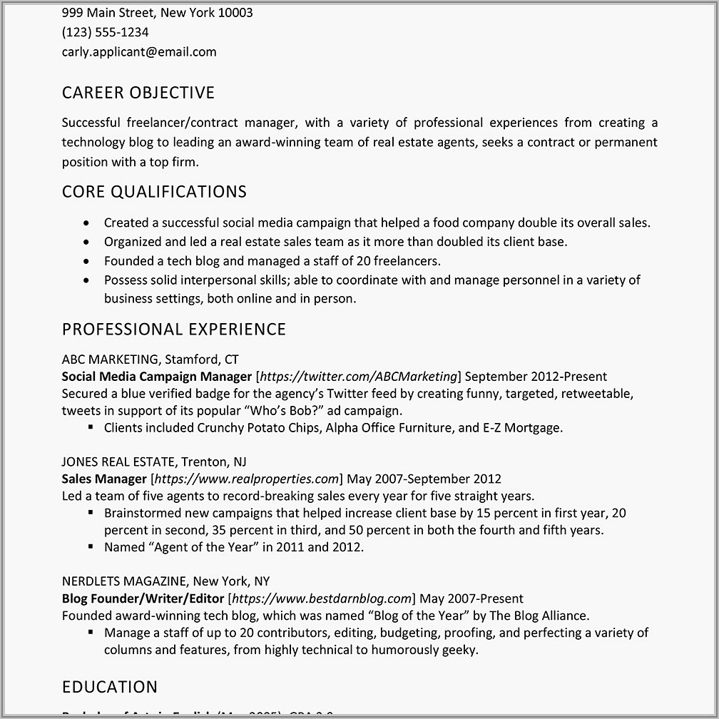 Real Estate Broker Resume Example