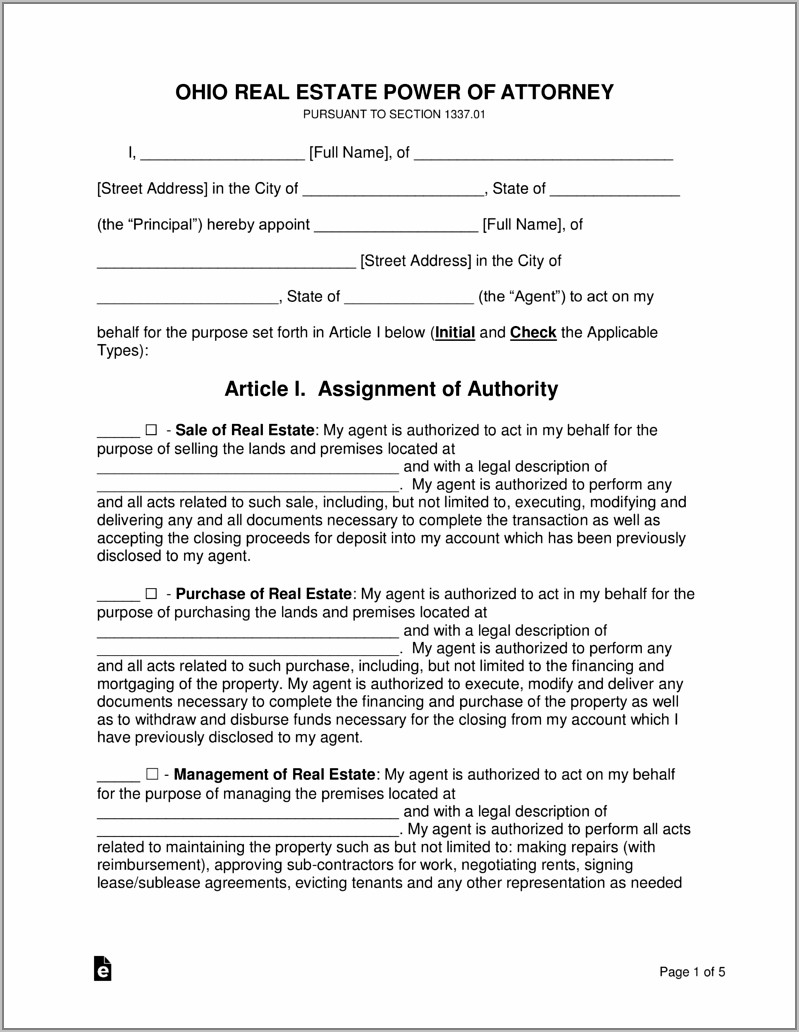 Real Estate Power Of Attorney Pdf