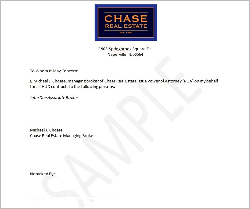 Real Estate Power Of Attorney Sample