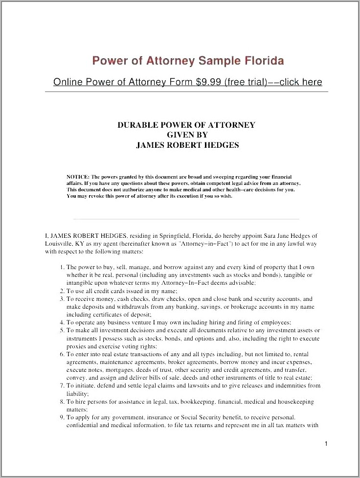 Real Estate Power Of Attorney Template Free