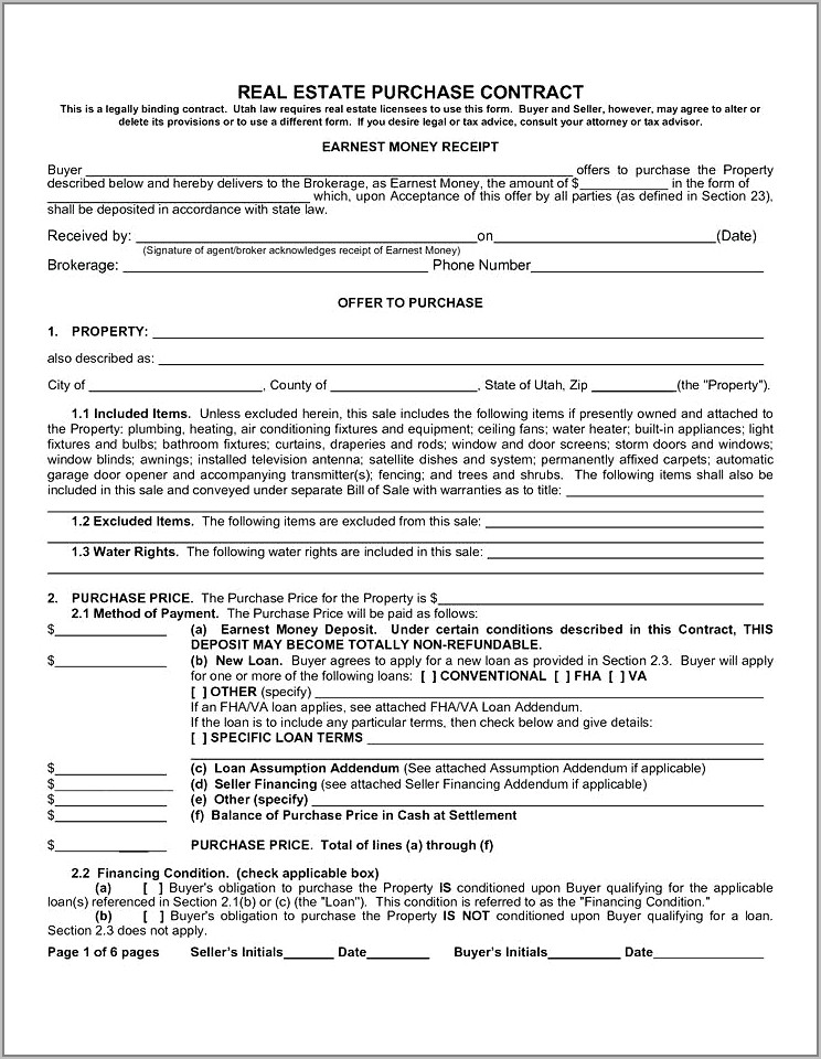 Real Estate Purchase Contracts Free