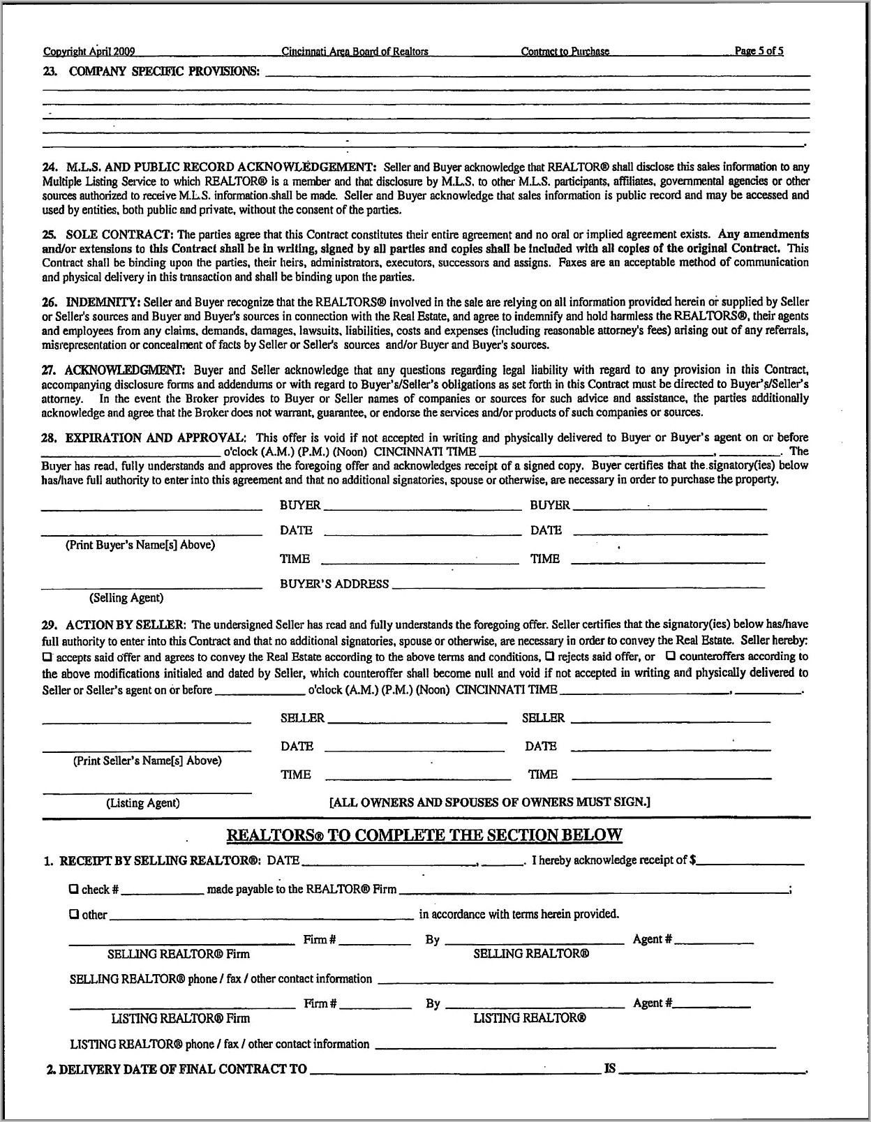Real Estate Sales Contract Addendum Form