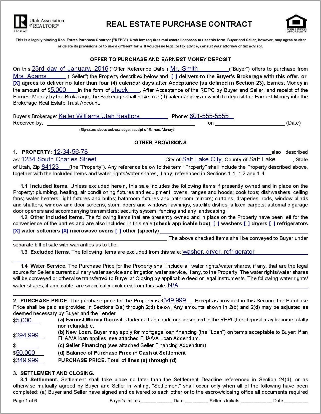 Real Estate Sales Contract Example