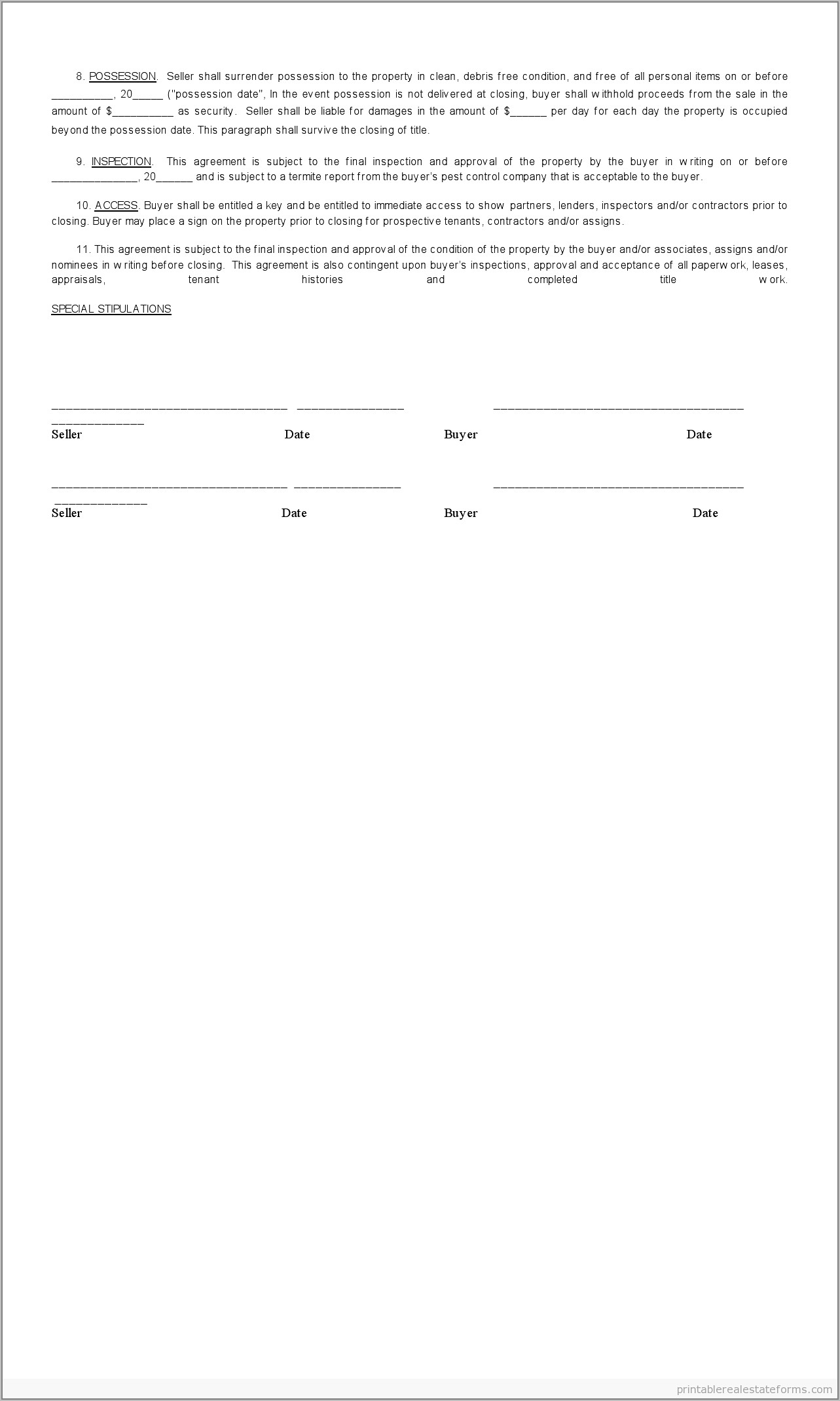 Real Estate Sales Contract Sample
