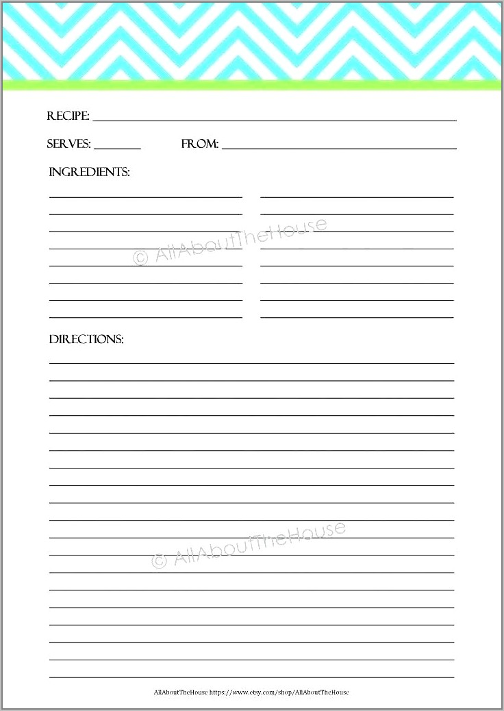 Recipe Templates For Pages Free