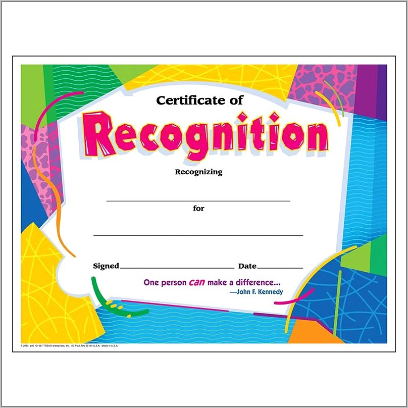 Recognition Awards Certificates Template
