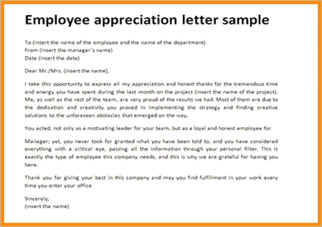 Recognition Employee Appreciation Letter Sample