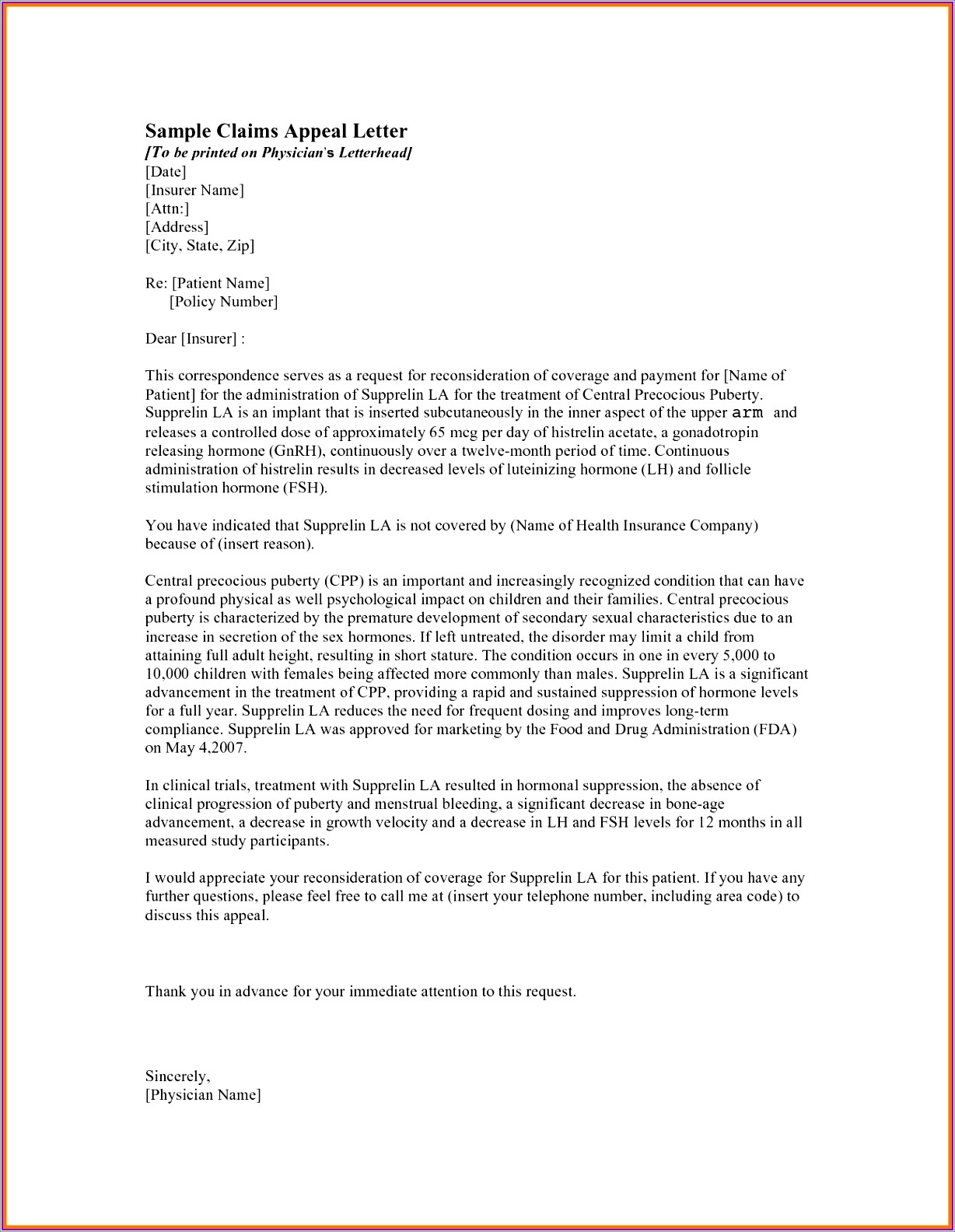 Reconsideration Insurance Appeal Letter Template