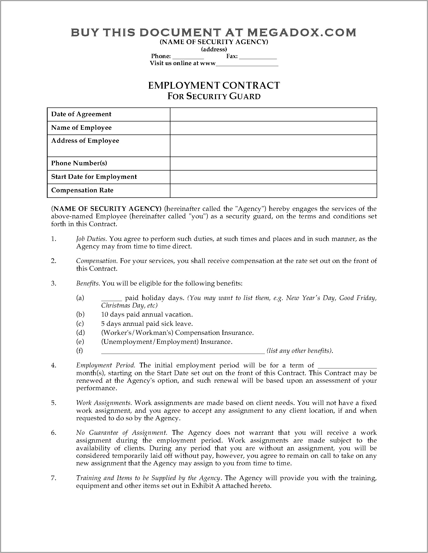 Recruitment Agency Client Contract Template