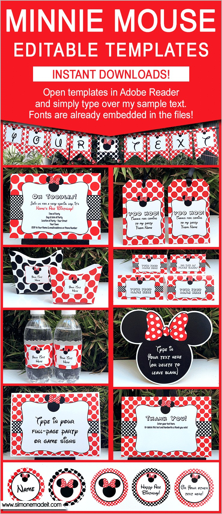 Red Minnie Mouse 1st Birthday Invitations