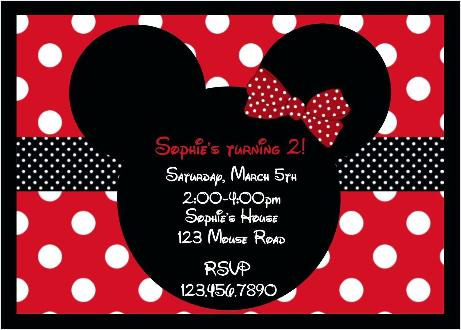 Red Minnie Mouse Birthday Invitations