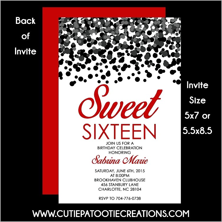Red Sweet 16 Invitations