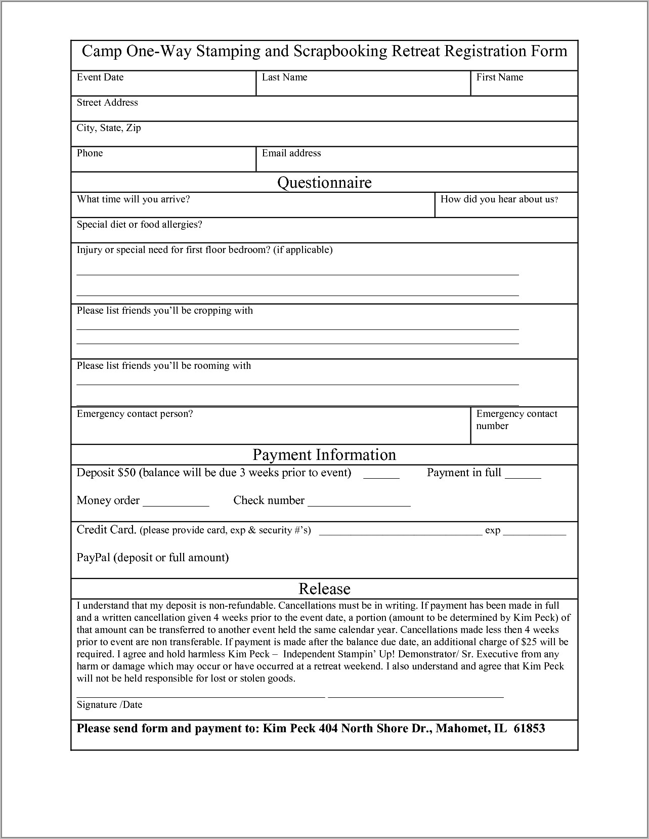 Registration Form Template Free Word