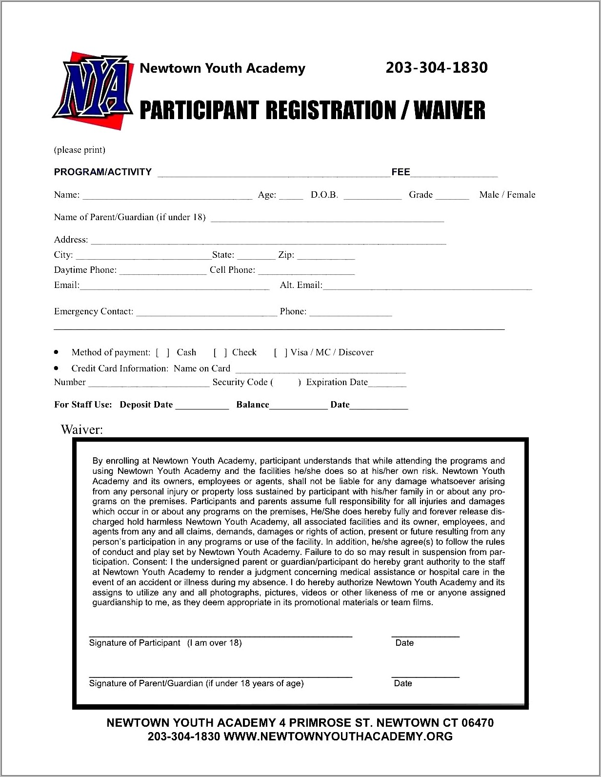 Registration Form Template Word Free