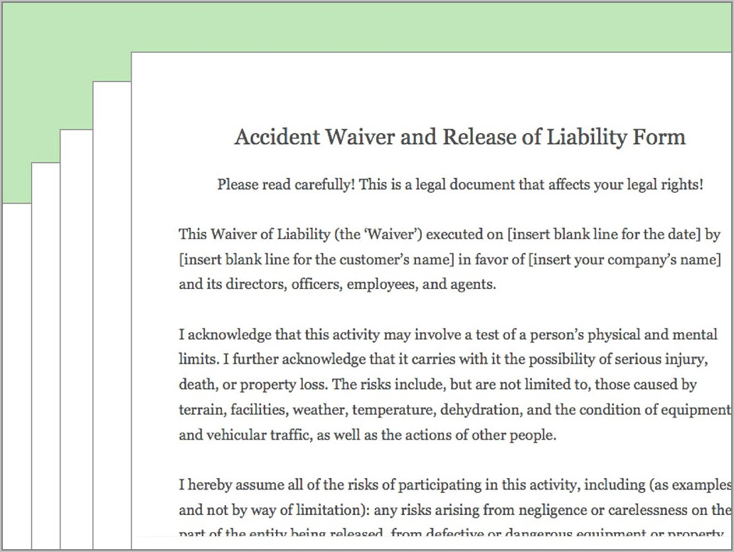 Release Of Liability Waiver Form Pdf