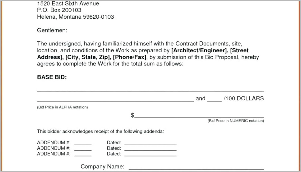 Request For Bid Form Template