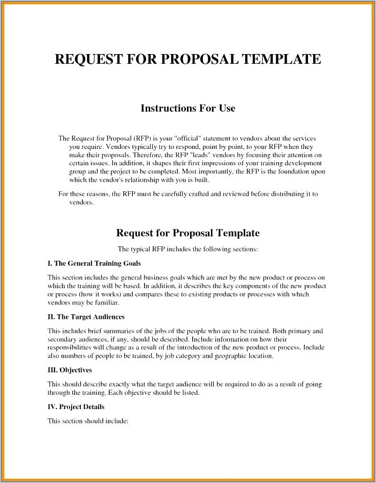 Request For Bid Proposal Example