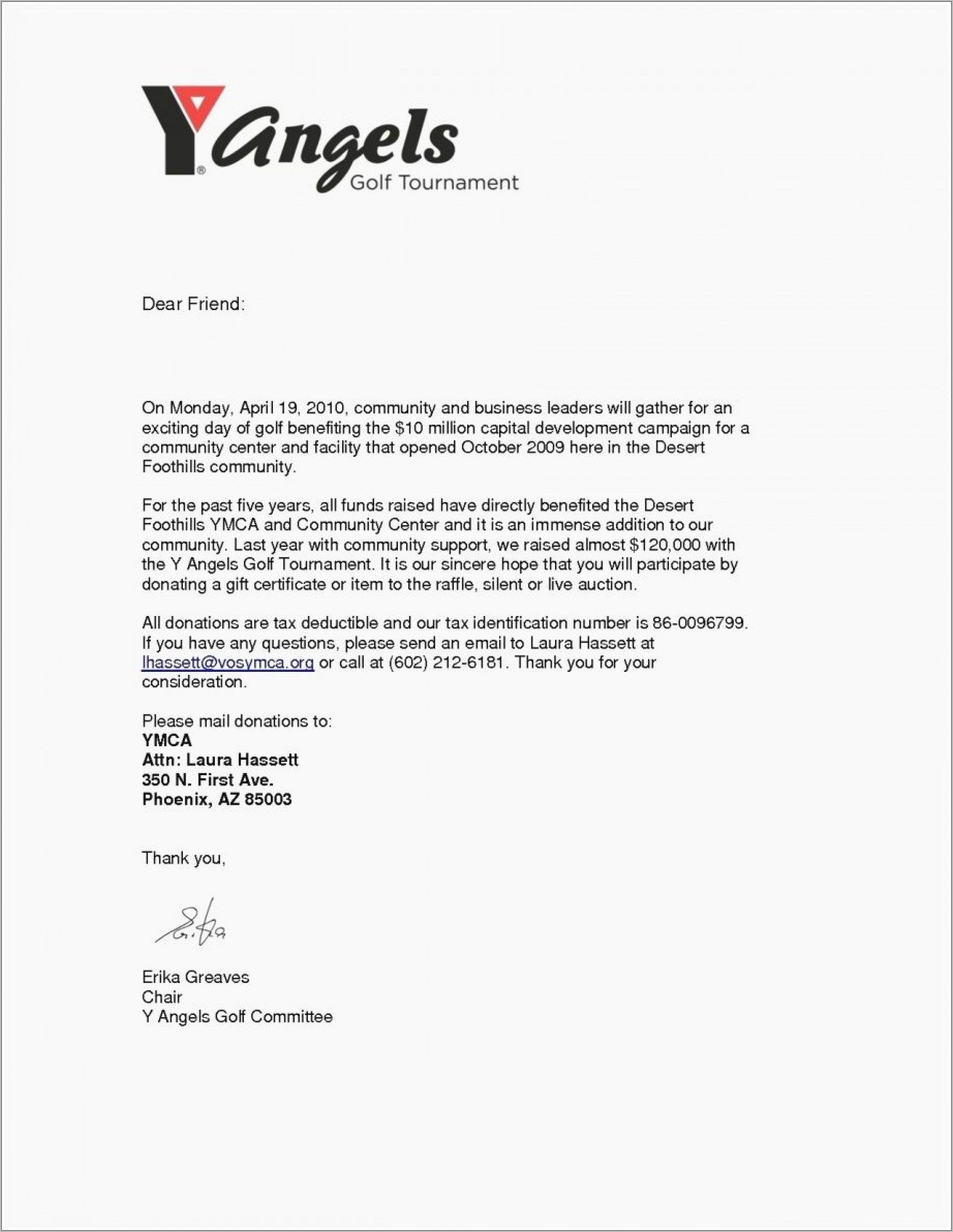 Request For Donations Letter Example