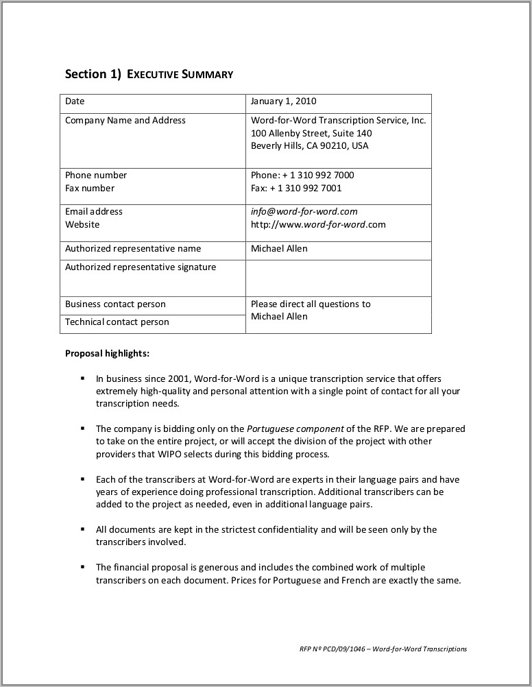 Request For Proposal Rfp Sample