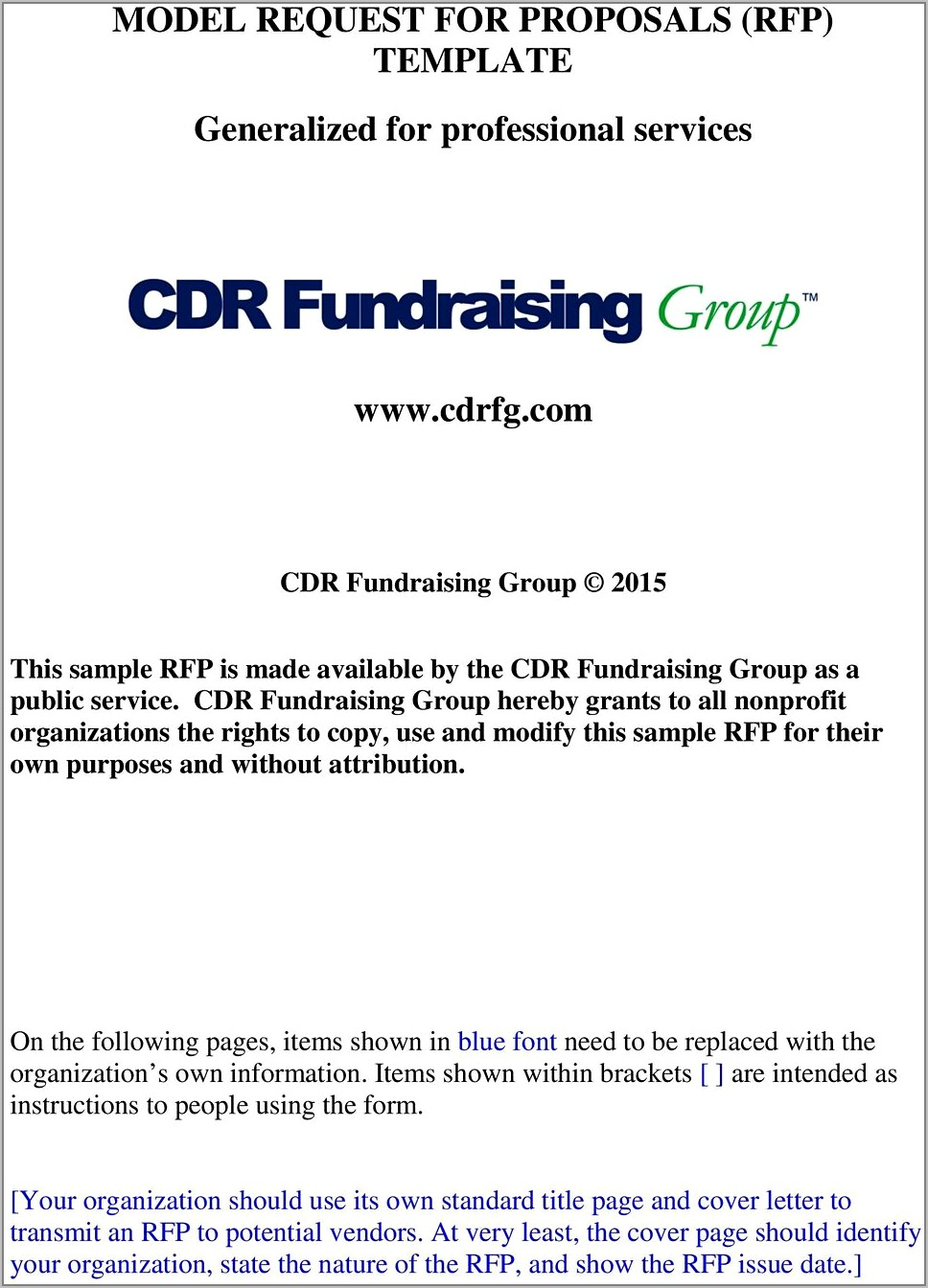 Request For Proposals Rfp Template