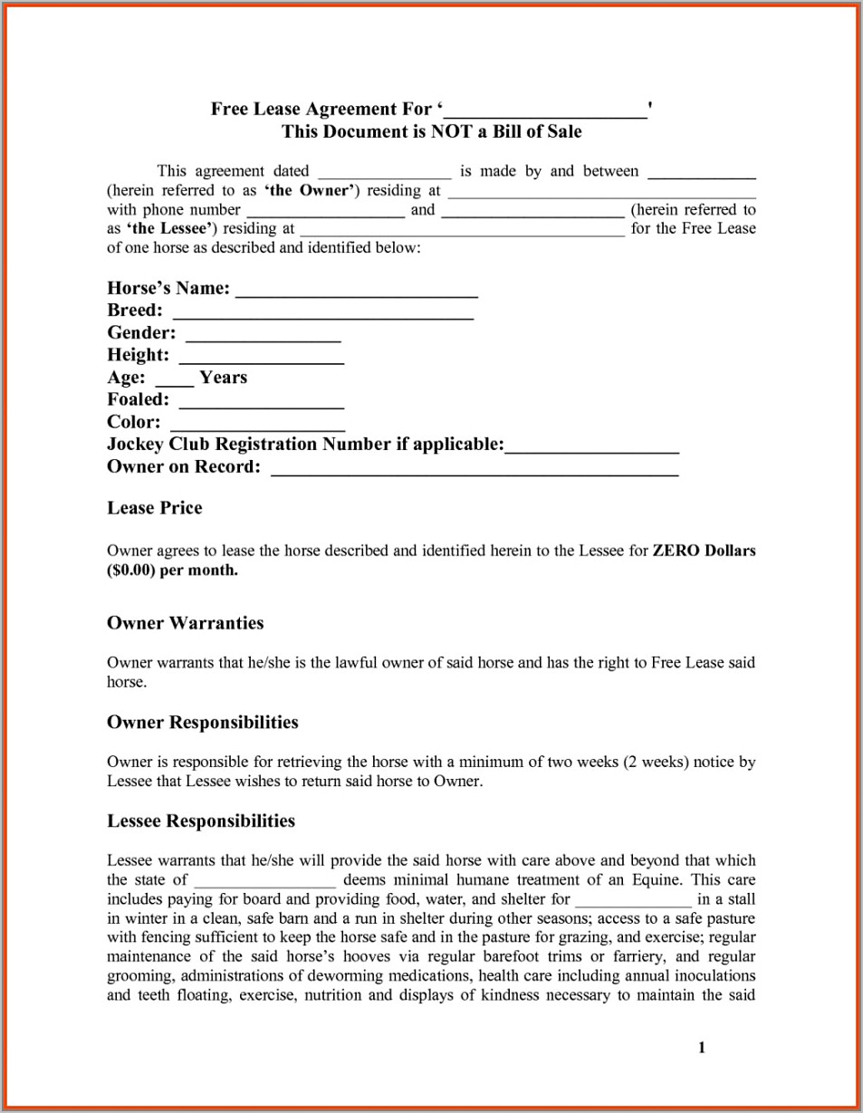 Residential Lease Agreement Form South Africa