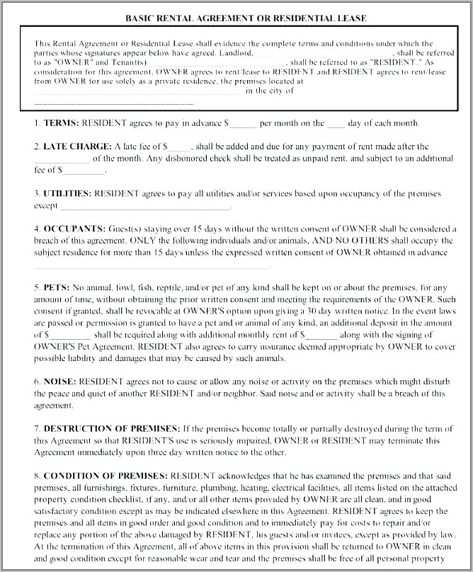 Residential Lease Agreement Renewal Form Ontario