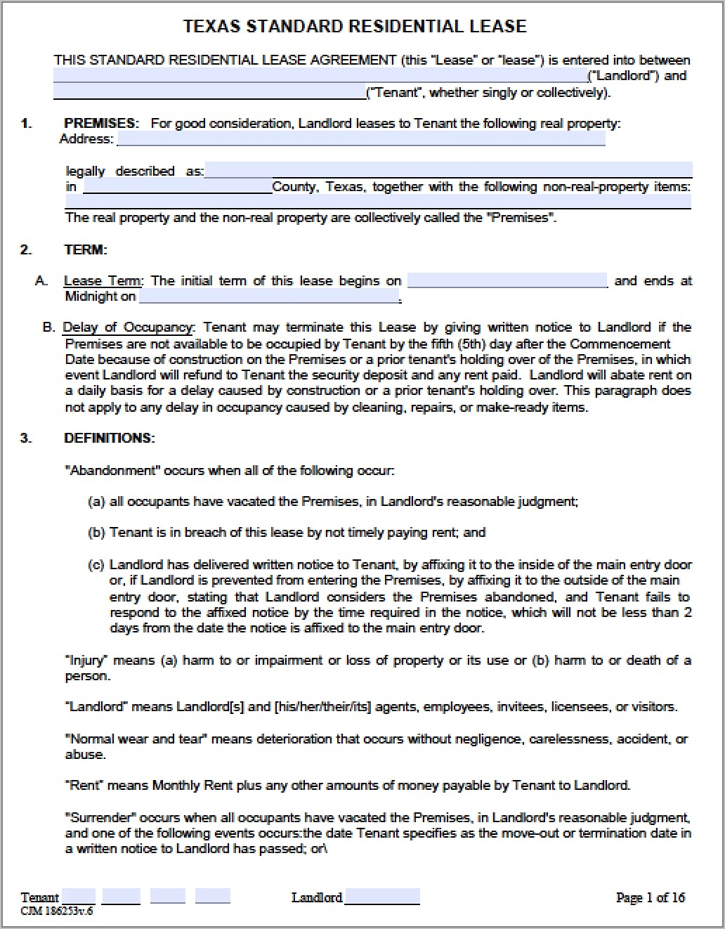 Residential Lease Agreement Template Texas Free