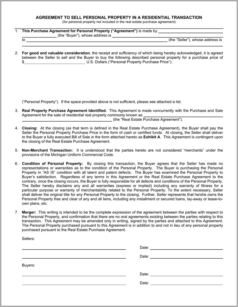 Residential Property Sales Contract Template