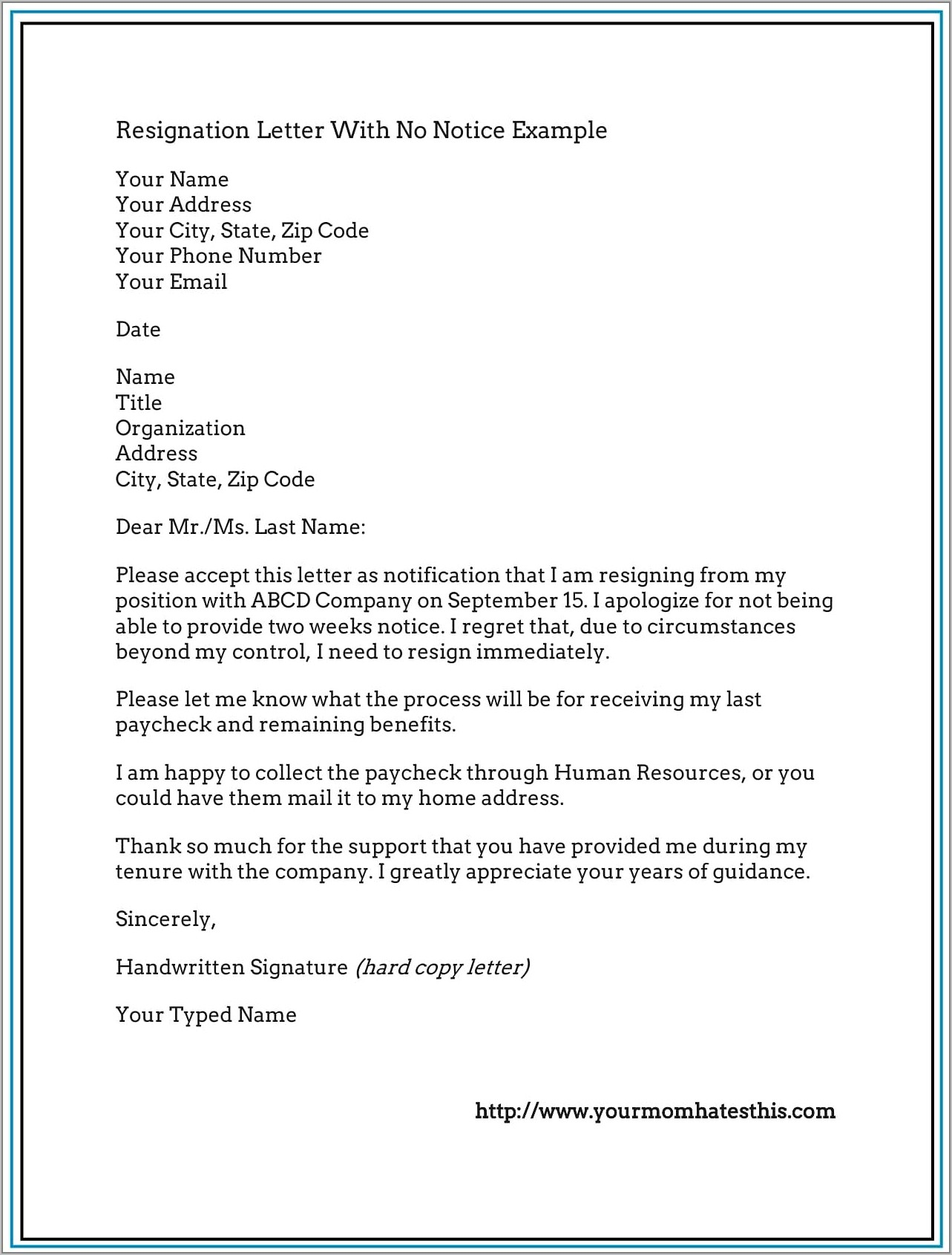 Resignation Letter Format Pdf Download