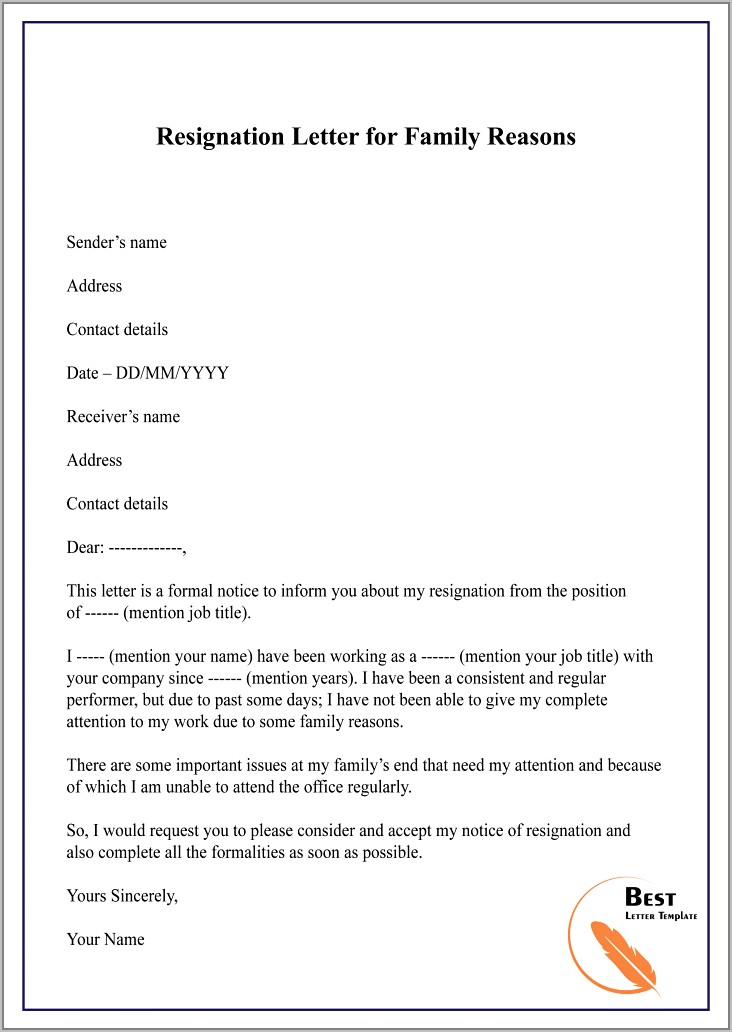 Resignation Letter Format Personal Reason