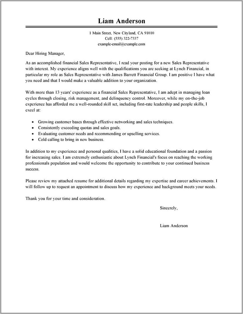 Resume Cover Letter Examples Career Change
