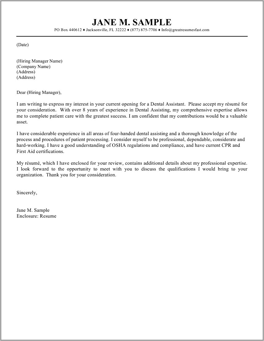 Resume Cover Letter Examples For Dental Assistant