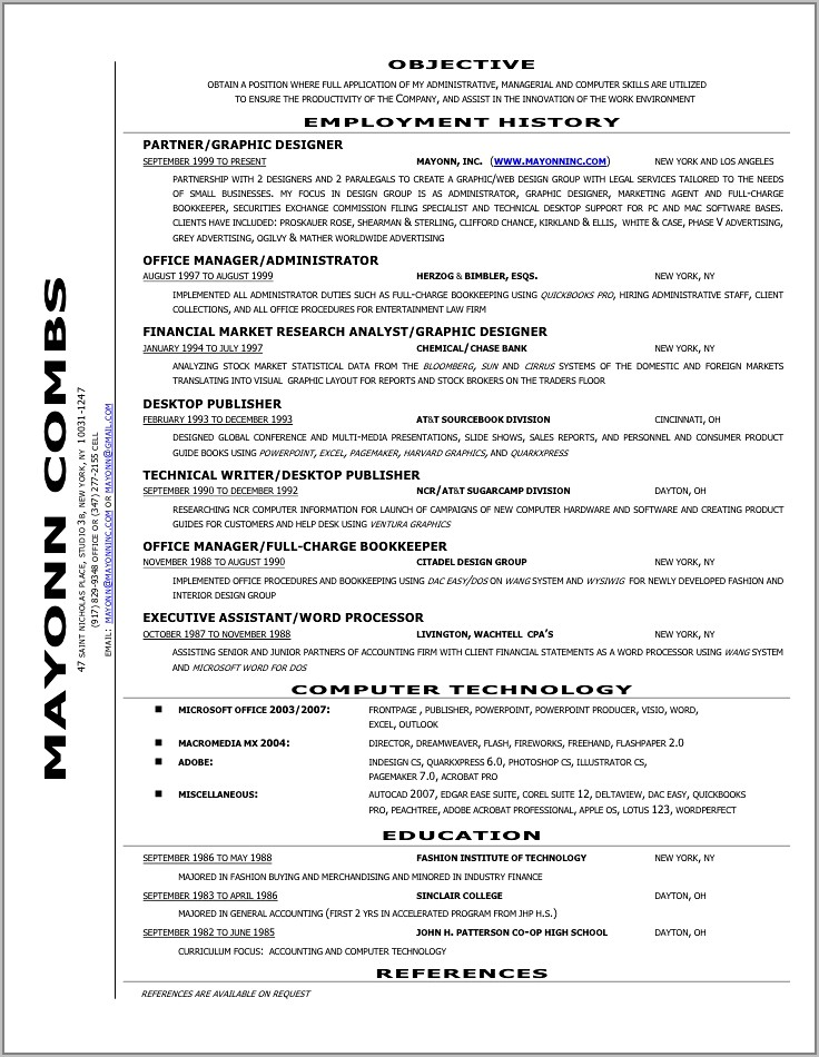 Resume Example For Financial Analyst