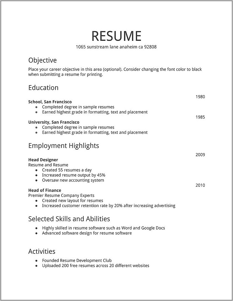 Resume Example For First Time Job