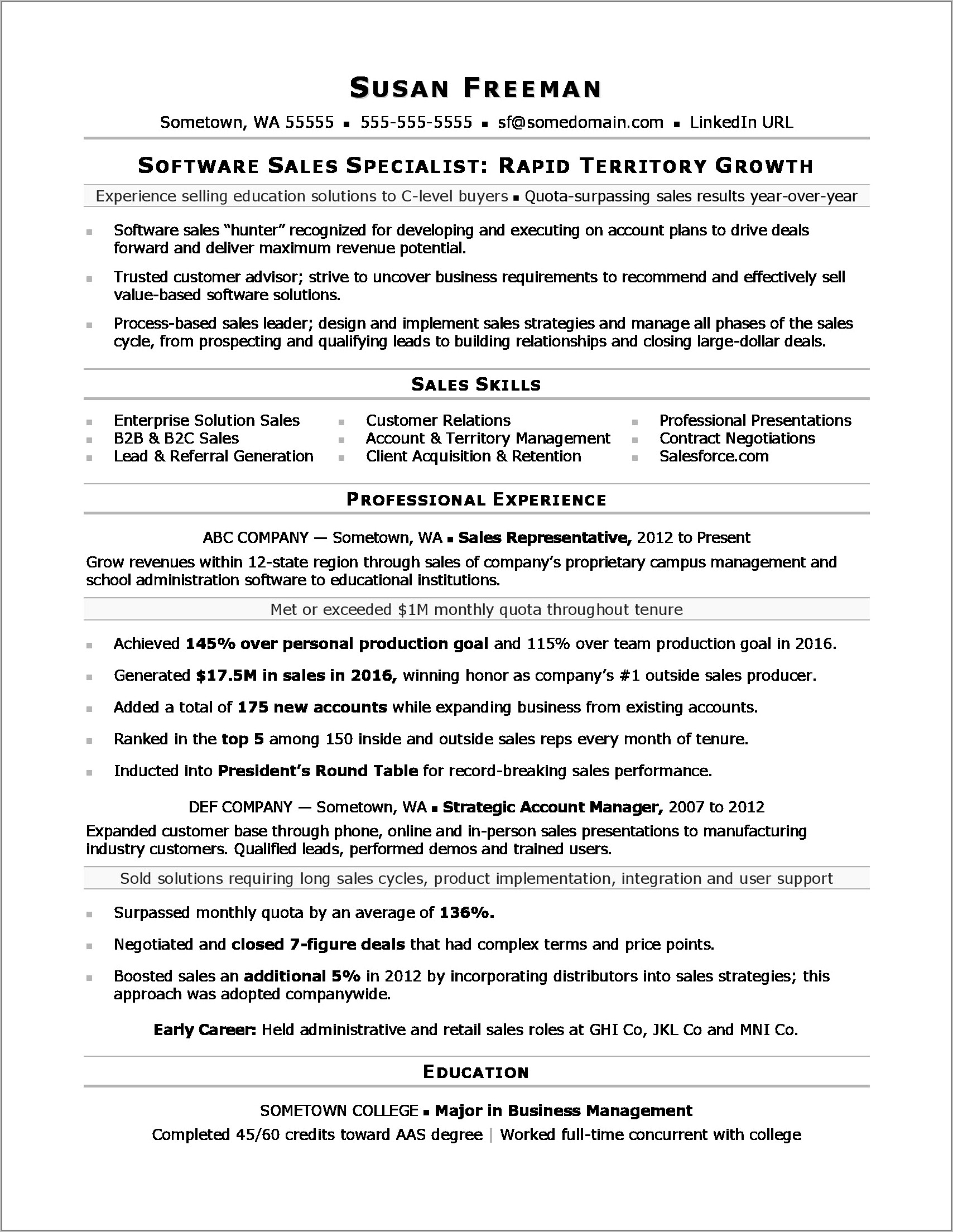 Resume Examples For Sales Jobs