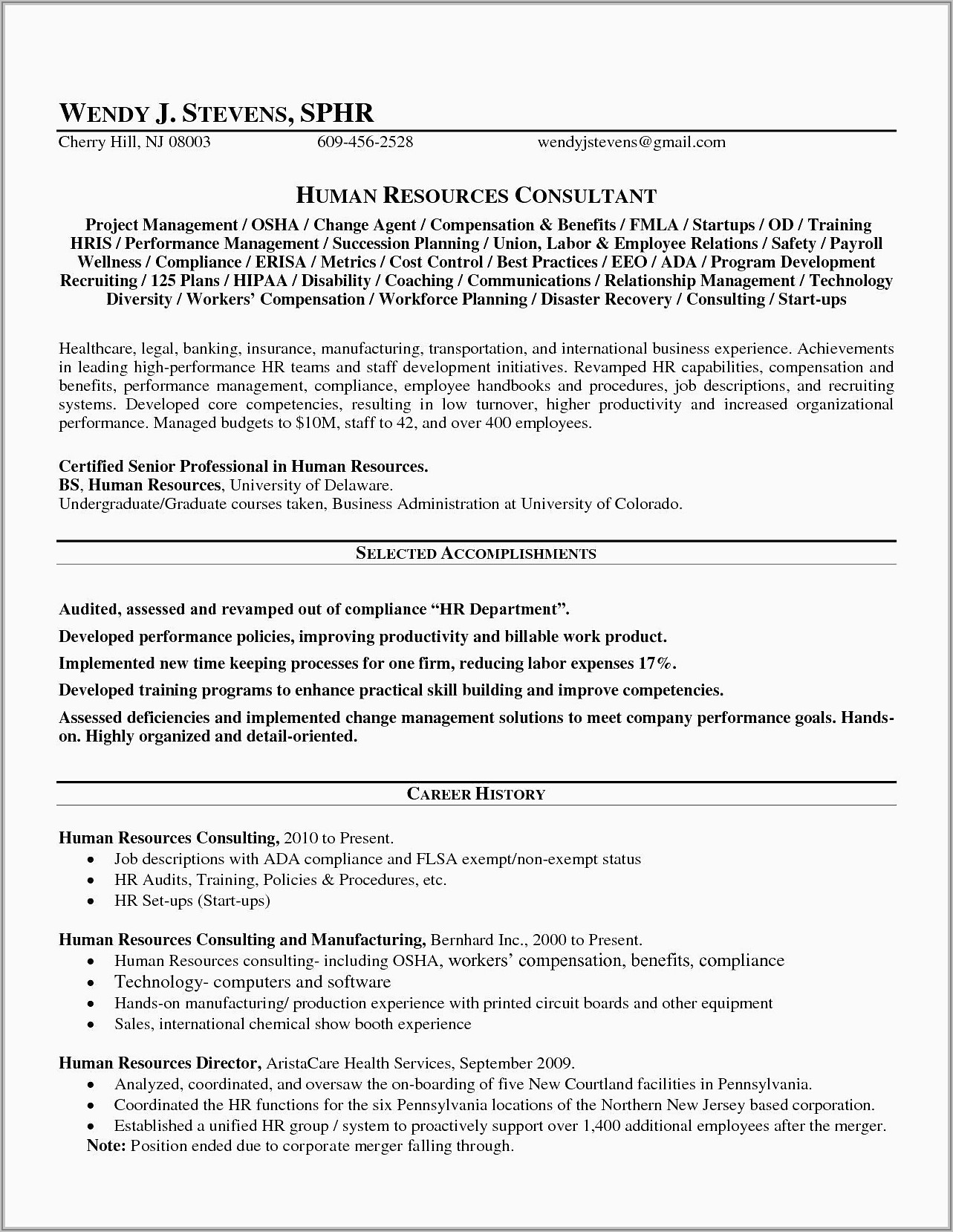 Resume Format For Sales Manager Free Download