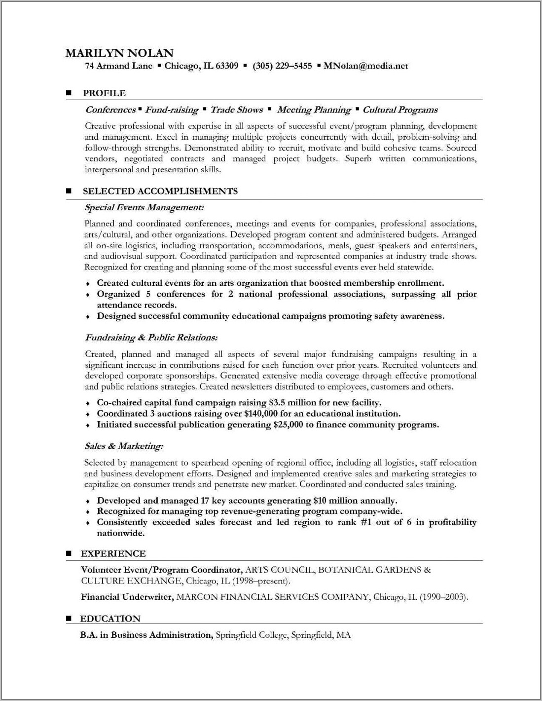 Resume Profile Examples For Career Change