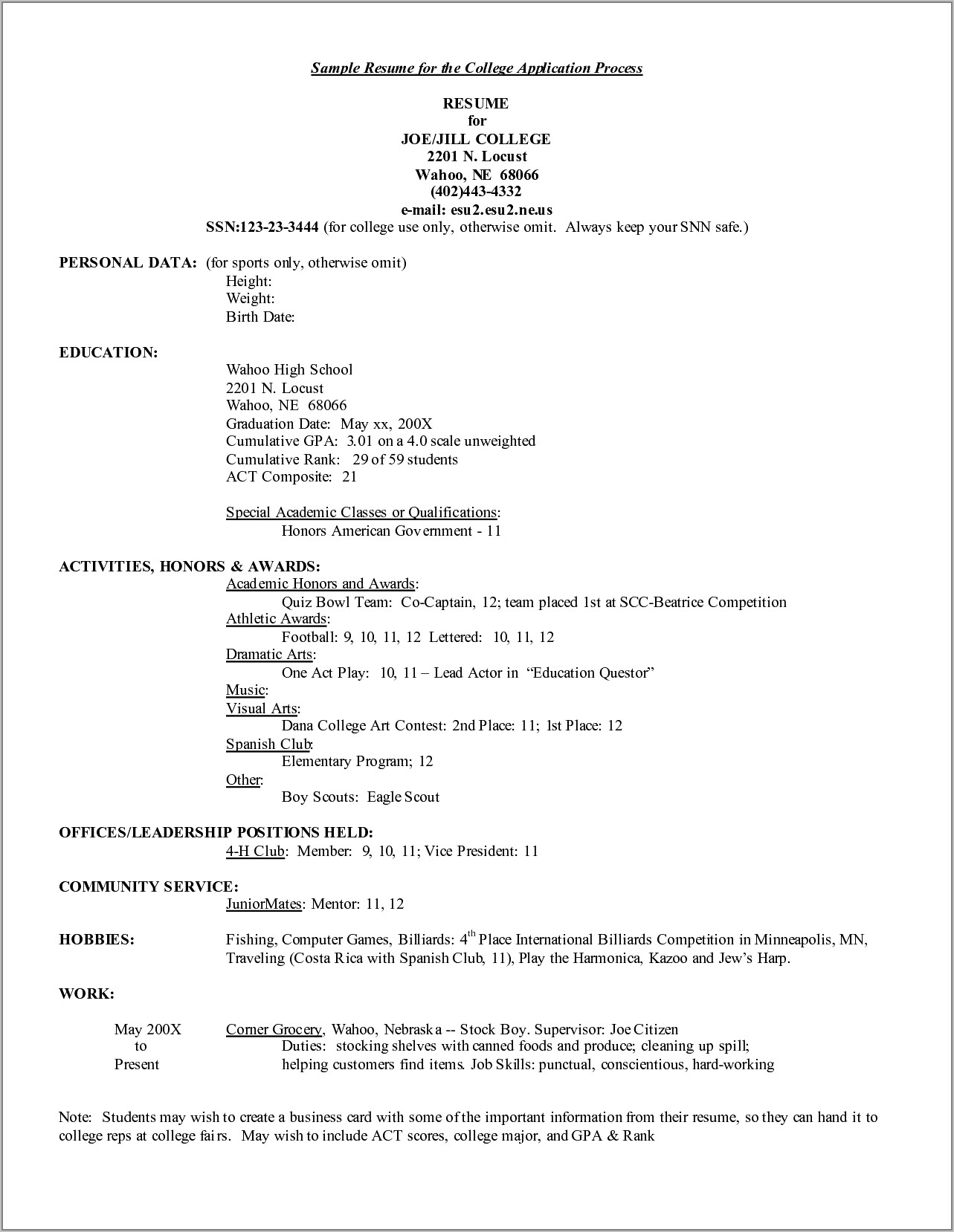 Resume Samples For College Applications