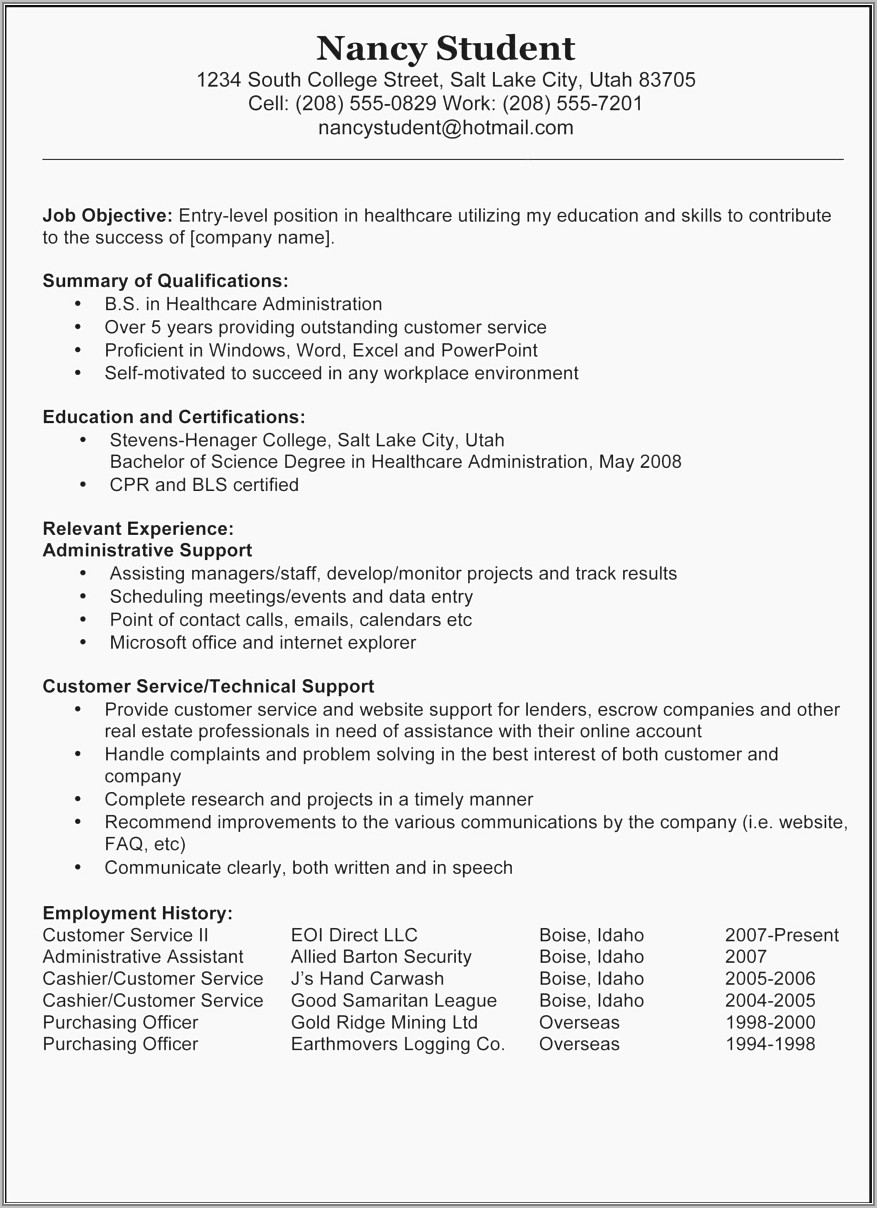 Resume Samples For Executive Assistants
