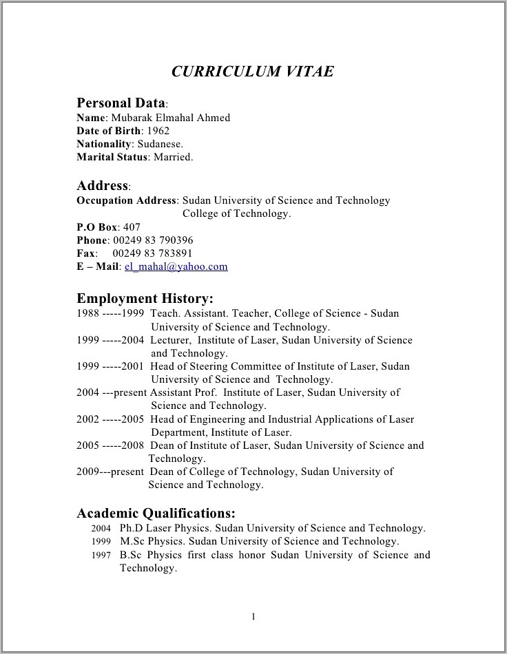 Resume Template For A Teenager