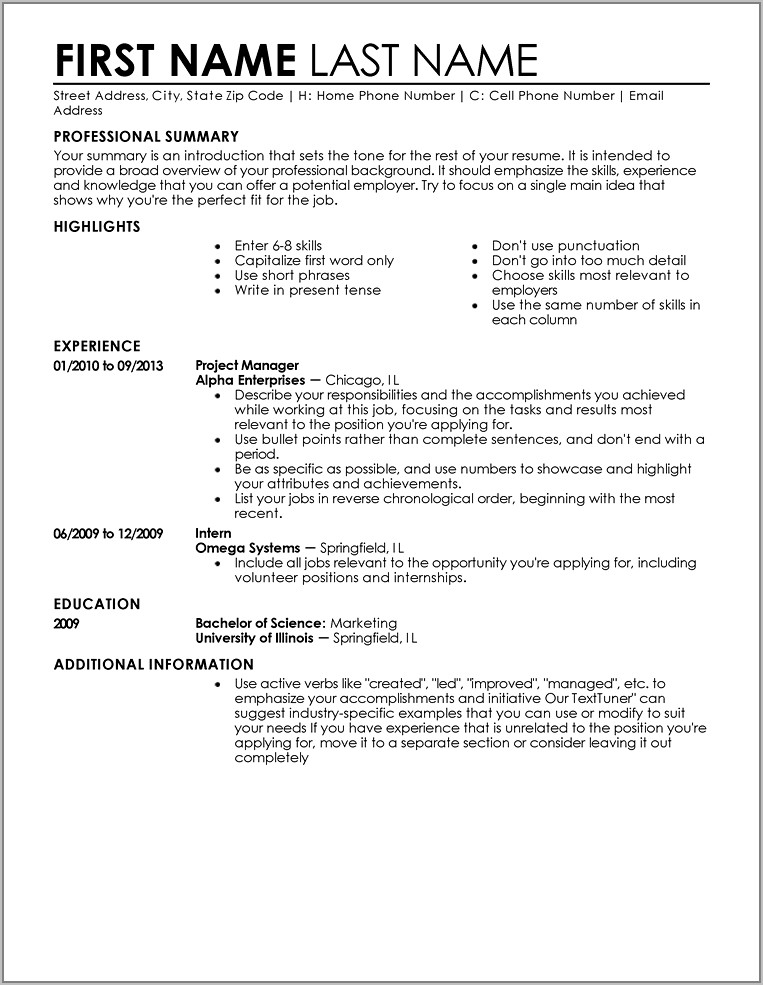 Resume Template For Accounts Receivable