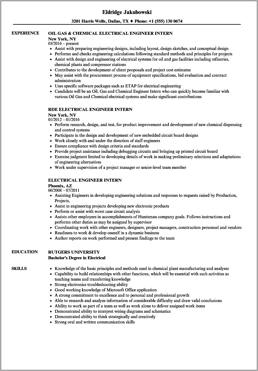 Resume Template For Electrical Engineer