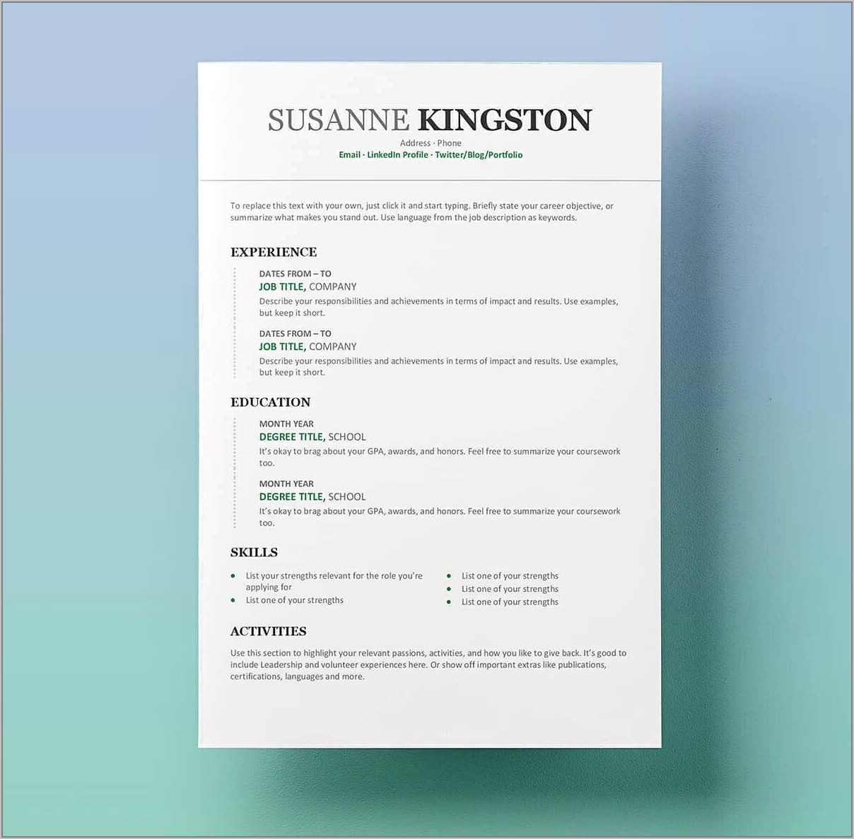 Resume Template For Free Word