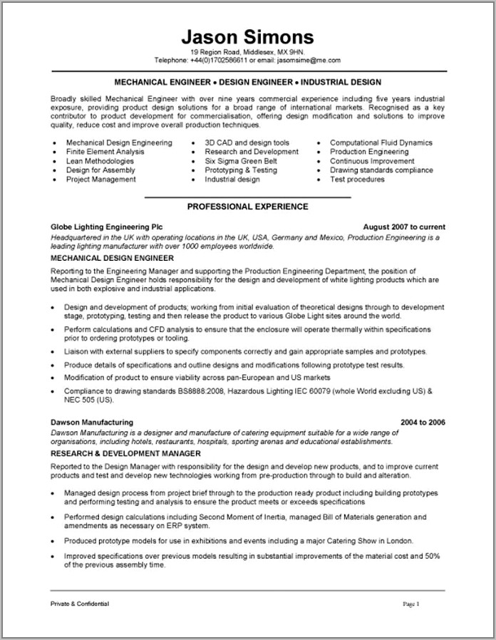 Resume Template For Mechanical Design Engineer