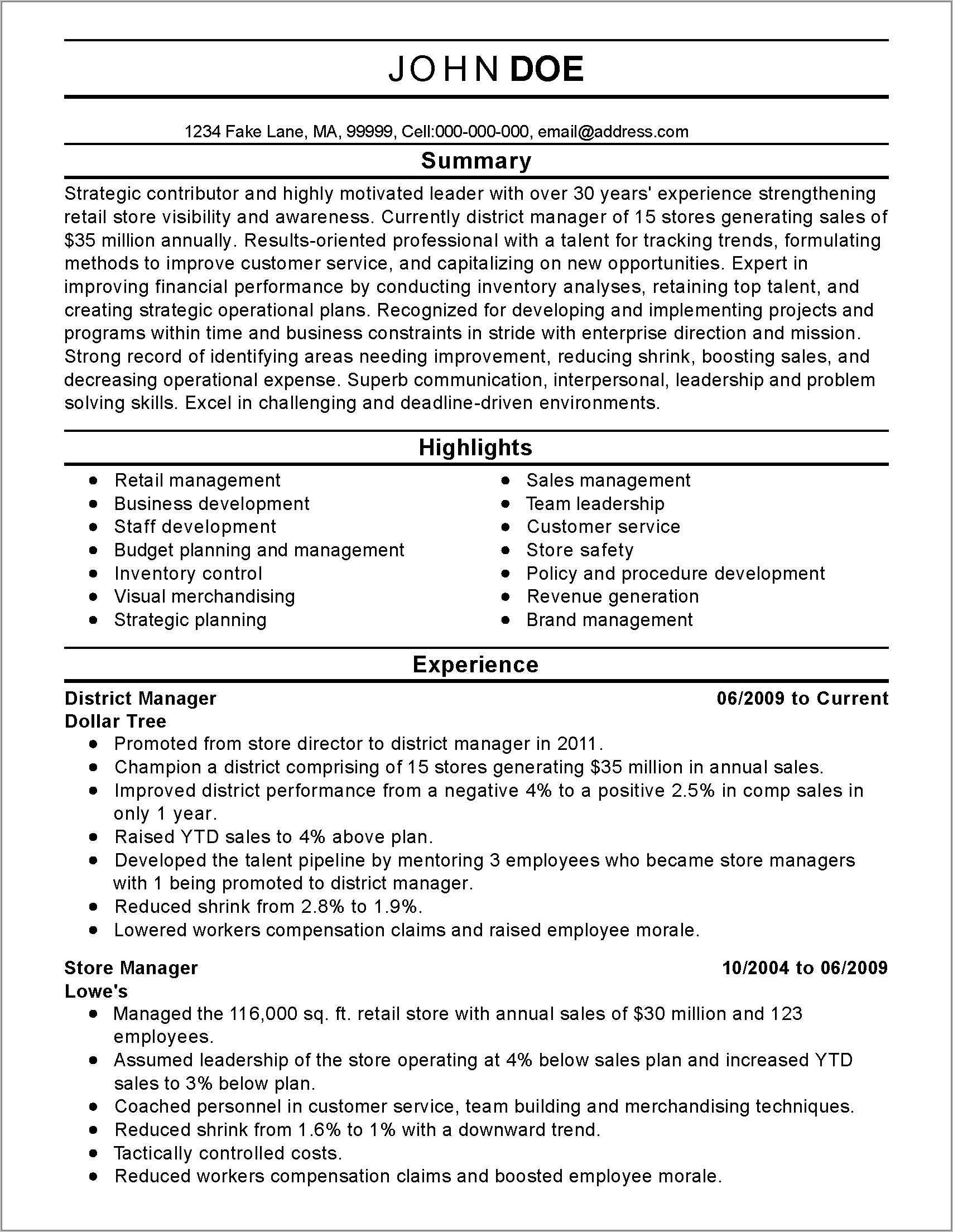 Resume Template For Regional Sales Manager